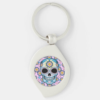 Colorful Sugar Skull Silver-Colored Swirl Key Ring