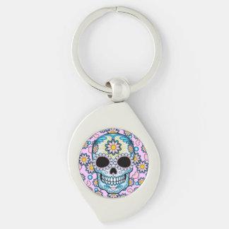 Colorful Sugar Skull Silver-Colored Swirl Key Ring