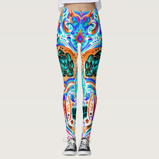 Colorful Sugar Skull Tattoo Leggings