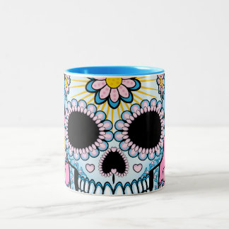 Colorful Sugar Skull Two-Tone Coffee Mug