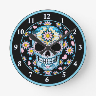 Colorful Sugar Skull Wall Clocks