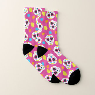 Colorful Sugar Skulls and Flowers on Pink 1