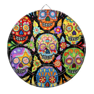 Colorful Sugar Skulls Dartboard Day of the Dead