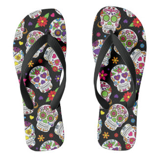 Colorful Sugar Skulls Flip Flops
