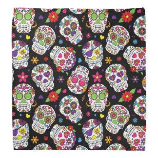 Colorful Sugar Skulls On Black Bandana