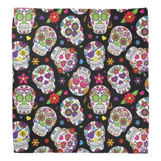 Colorful Sugar Skulls On Black Bandanna