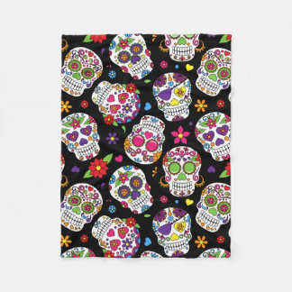 Colorful Sugar Skulls On Black Fleece Blanket