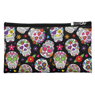 Colorful Sugar Skulls On Black Makeup Bags