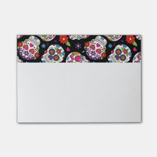 Colorful Sugar Skulls On Black Post-it Notes