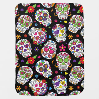 Colorful Sugar Skulls On Black Receiving Blanket