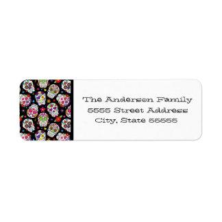Colorful Sugar Skulls On Black Return Address Label