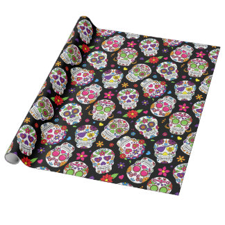Colorful Sugar Skulls On Black Wrapping Paper