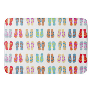 Colorful Summer Beach Flip Flops Bath Mat