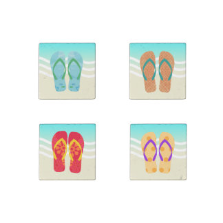 Colorful Summer Beach Flip Flops Magnets Stone Magnet