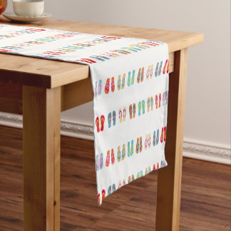 Colorful Summer Beach Flip Flops Table Runner