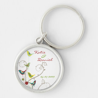 Colorful Summer Bird and Swirls Save-the-Date Key Ring