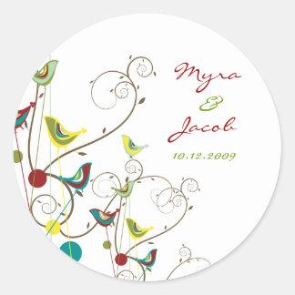 Colorful Summer Birds Swirls Chic Wedding Sticker