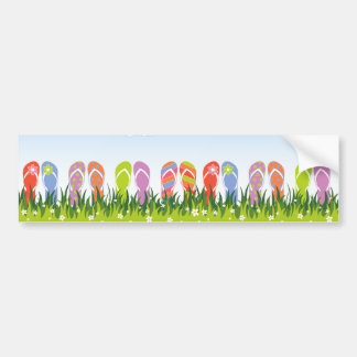 Colorful Summer Flip Flops Fun In The Sun Garden Bumper Sticker