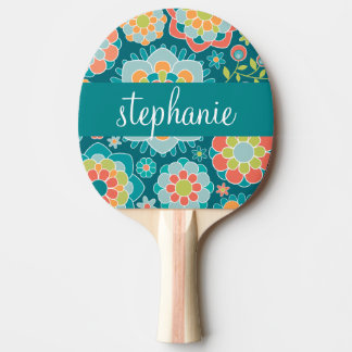 Colorful Summer Floral Pattern Custom Name Ping Pong Paddle