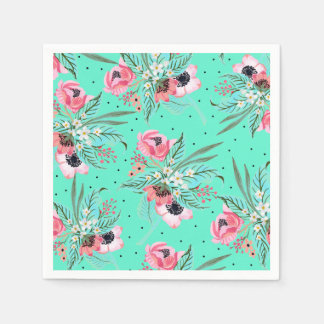 Colorful Summer Flowers Teal Paper Napkin