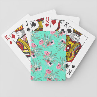 Colorful Summer Flowers Teal Playing Cards
