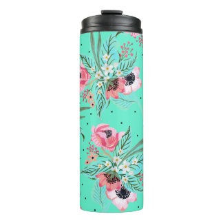 Colorful Summer Flowers Teal Thermal Tumbler