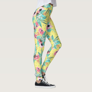 Colorful Summer Flowers - Yellow Leggings