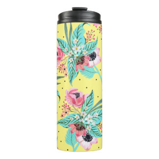 Colorful Summer Flowers Yellow Thermal Tumbler