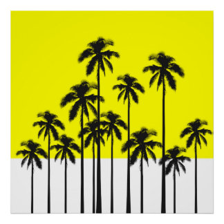 Colorful Summer Neon Yellow & Tropical Palm Trees Poster