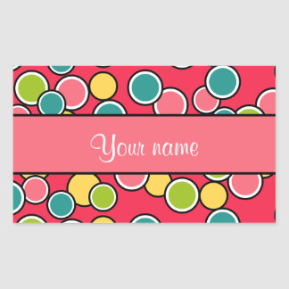 Colorful Summer Polka Dots Personalized Rectangular Sticker