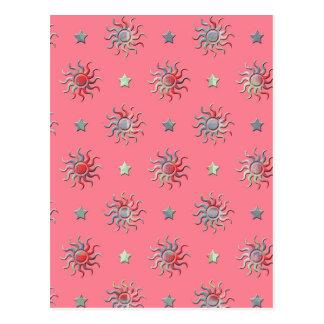 Colorful sun and stars design postcard