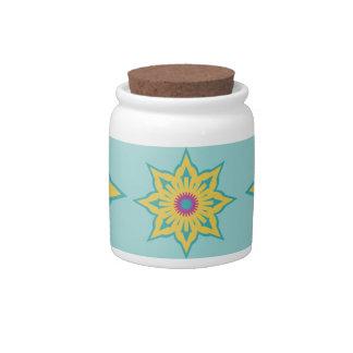 colorful sunburst pattern candy jars