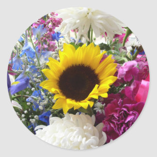 Colorful sunflower bouquet round sticker