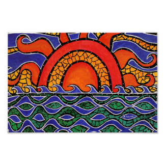 Colorful Sunset Beach Waves Poster