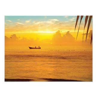 Colorful sunset on the tropical beach photo print