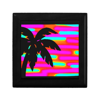 colorful sunset palm tree art for keepsake box