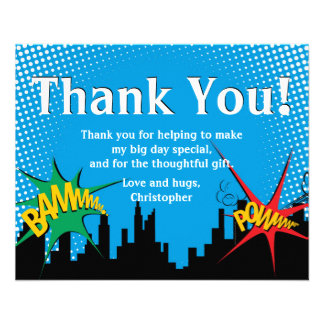 Colorful Superhero Comic Boy's Birthday Thank You 11.5 Cm X 14 Cm Flyer