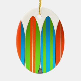 Colorful Surfboard Pattern Deisgn Ceramic Oval Decoration