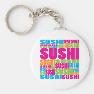 Colorful Sushi Basic Round Button Key Ring