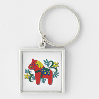 Colorful Swedish Dala Horse Key Ring
