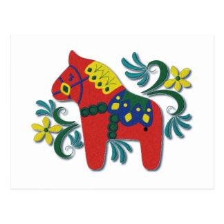Colorful Swedish Dala Horse Postcard