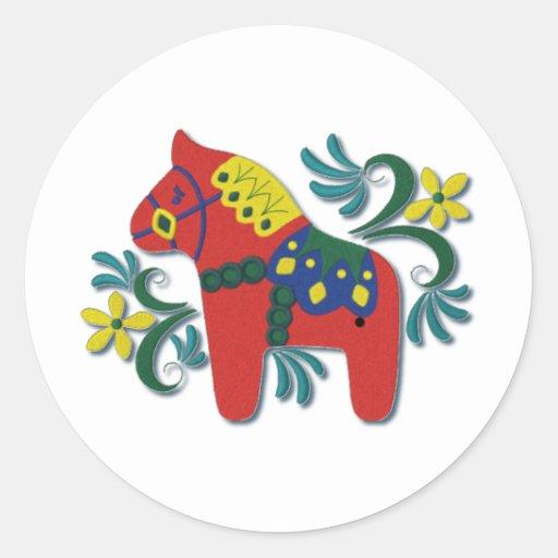 Colorful Swedish Dala Horse Round Sticker