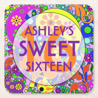 Colorful Sweet 16 Birthday Party Coasters Square Paper Coaster
