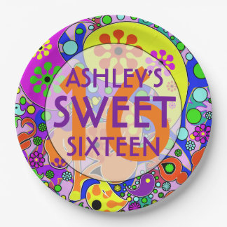 Colorful Sweet 16 Birthday Party Plates 9 Inch Paper Plate