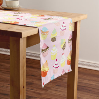 Colorful Sweet Cupcakes Pattern Table Runner