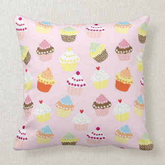 Colorful Sweet Cupcakes Pattern Throw Pillow