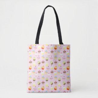 Colorful Sweet Cupcakes Pattern Tote Bag