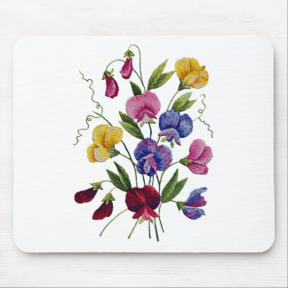Colorful Sweet Peas Embroidered Mouse Mat