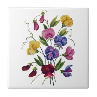 Colorful Sweet Peas Embroidered Small Square Tile