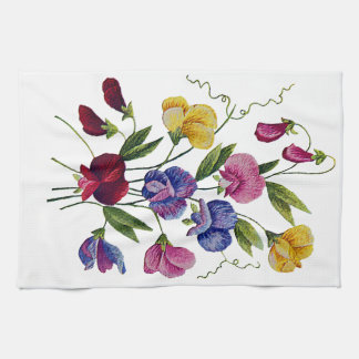 Colorful Sweet Peas Embroidered Tea Towel